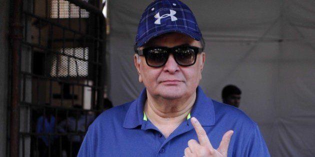 MUMBAI, INDIA OCTOBER 15: Veteran actor Rishi Kapoor showing inked finger after casting vote for Maharashtra...