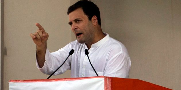 India's opposition Congress party Vice President Rahul Gandhi speaks during a farmers rally in New Delhi,...