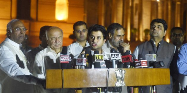NEW DELHI, INDIA - MARCH 29: Congress leader Jyotiraditya Scindia with others speaks to the media after...