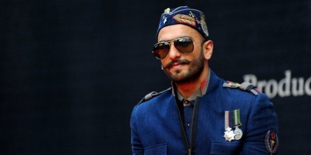 Indian Bollywood actor Ranveer Singh poses during the poster launch of the upcoming Hindi film 'Bajirao...