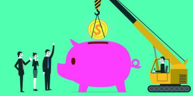 Crane put in coins to piggy