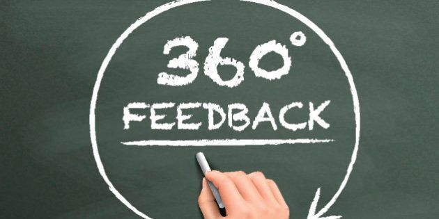360 degrees feedback drawn by hand isolated on