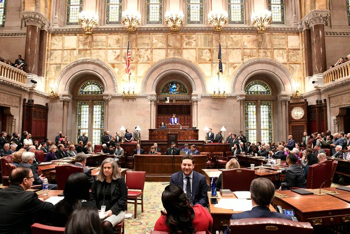 Senate Majority Leader Andrea Stewart-Cousins, D-Yonkers, speaks to members of the state Senate during opening day of the 201