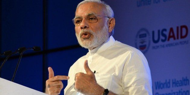 India Prime Minister Narendra Modi speaks during the 'Call To Action Summit' in New Delhi on August 27,...