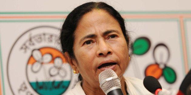KOLKATA, INDIA - MAY 19: TMC Supremo Mamata Banerjee during a press conference at her resident on May...