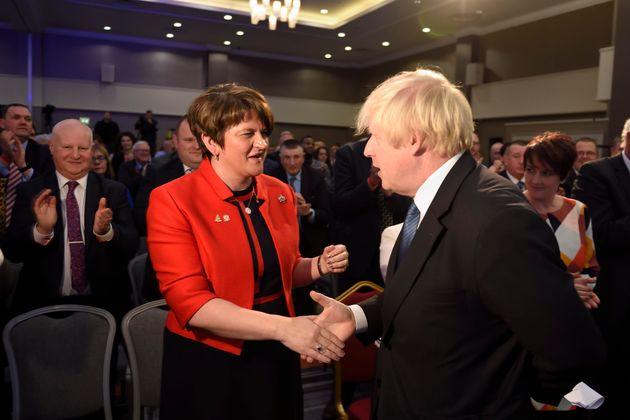 DUP leader Arlene Foster and Tory ex-Foreign Secretary Boris Johnson oppose the