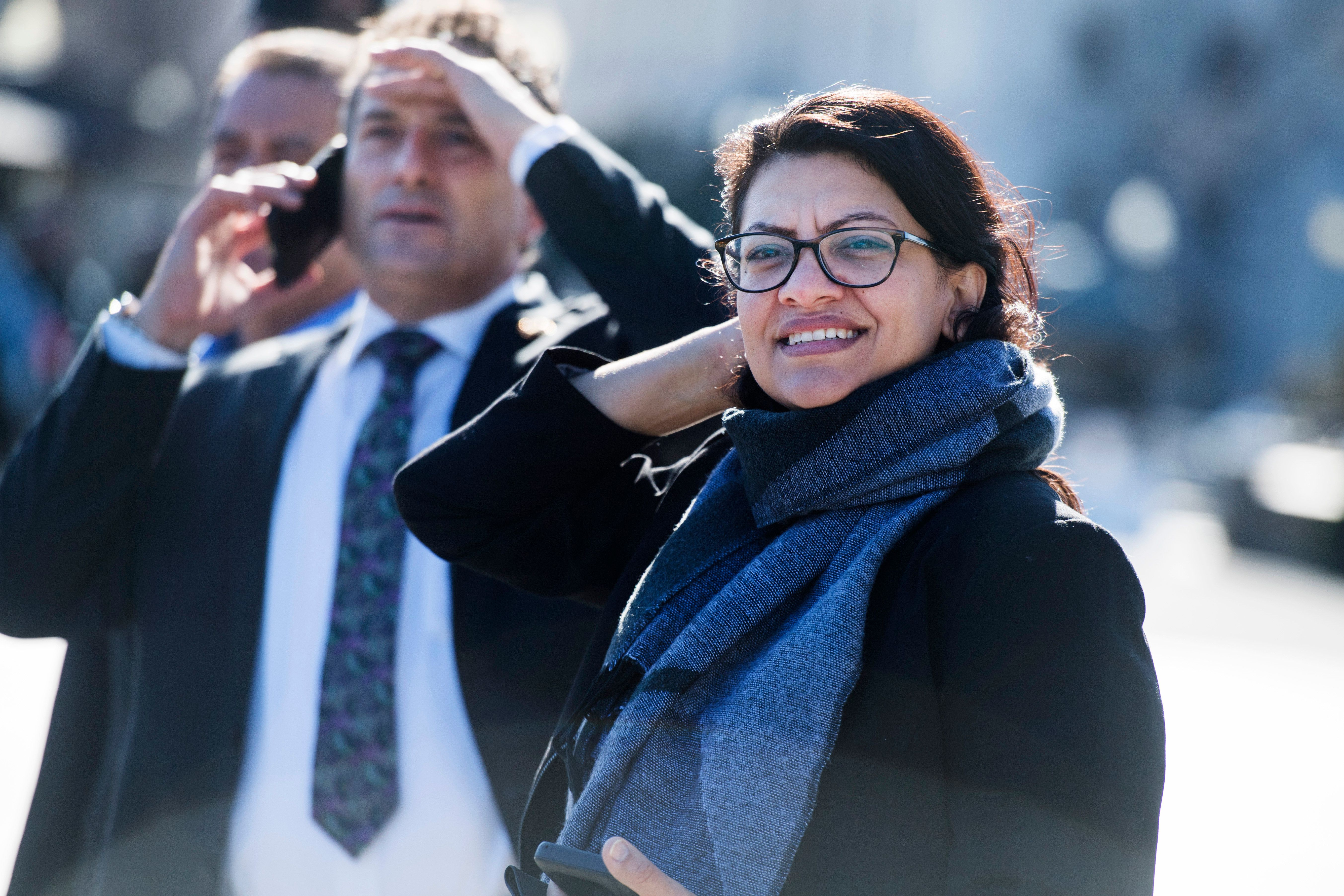 UNITED STATES - JANUARY 11: Reps. Rashida Tlaib, D-Mich., and Andy Levin, D-Mich., are seen outside the Capitol after the last votes of the week in the House on January 11, 2019. (Photo By Tom Williams/CQ Roll Call)