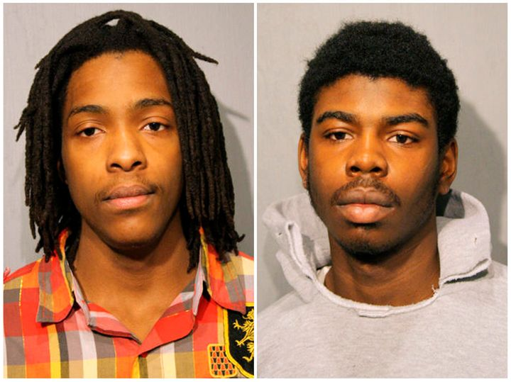 Micheail Ward, right, and Kenneth Williams are pictured in this combination image of booking photos from the Chicago Police D