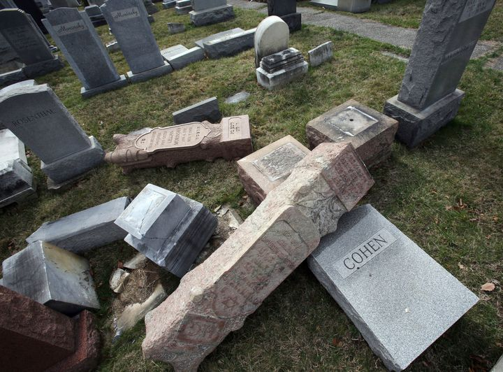Toppled headstones at Mount Carmel Cemetery in Philadelphia Feb. 27, 2017. A report on the vandalism cited an increase in ant
