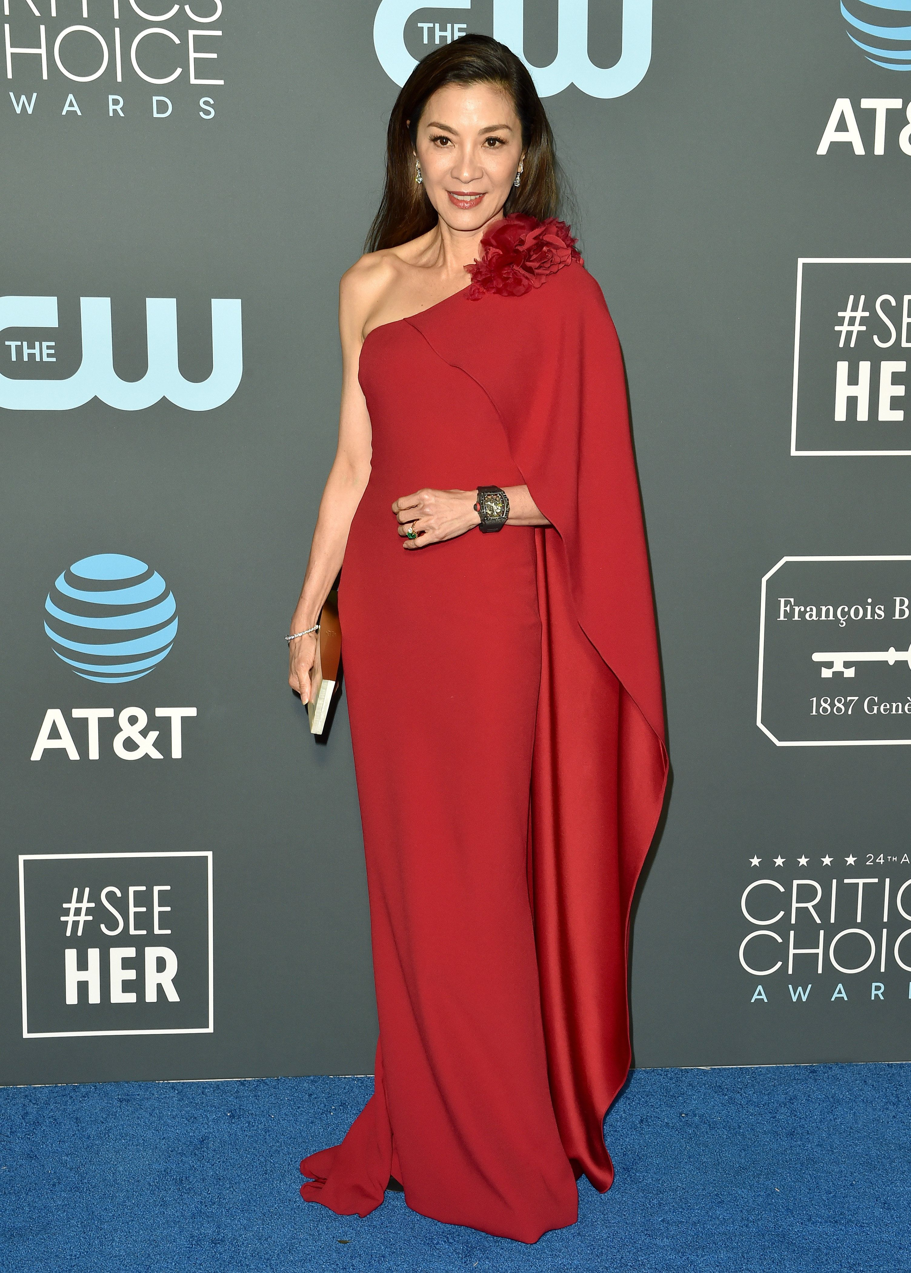 SANTA MONICA, CA - JANUARY 13:  Michelle Yeoh attends the 24th annual Critics' Choice Awards at Barker Hangar on January 13, 2019 in Santa Monica, California.  (Photo by Axelle/Bauer-Griffin/FilmMagic)