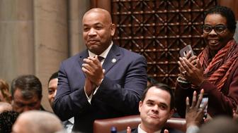 Assembly Speaker Carl Heastie, D-Bronx, left, and others applaud as Senate Majority Leader Andrea Stewart-Cousins, D-Yonkers, speaks to members of the state Senate during opening day of the 2019 legislative session in the Senate Chamber at the Capitol on Wednesday, Jan. 9, 2019, in Albany, N.Y. (AP Photo/Hans Pennink)