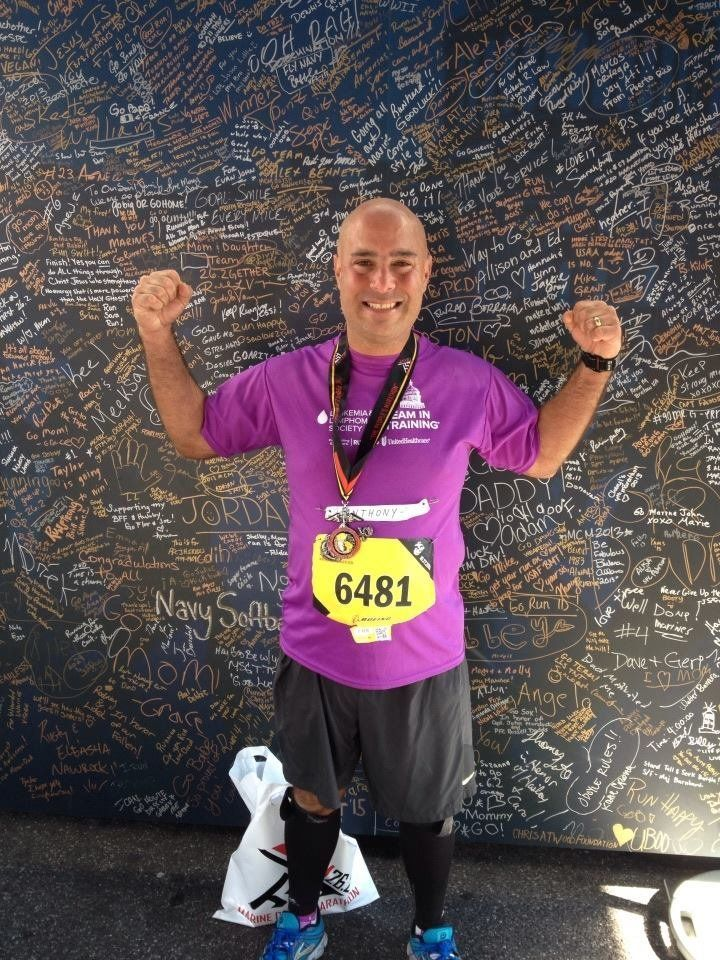 Dr. Perre after he completed the Marine Corps Marathon for the Leukemia and Lymphoma Society in 2013.