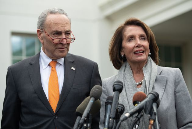 Speaker of the House Nancy Pelosi and Senate Democratic Leader Chuck Schumer speak to the media following...
