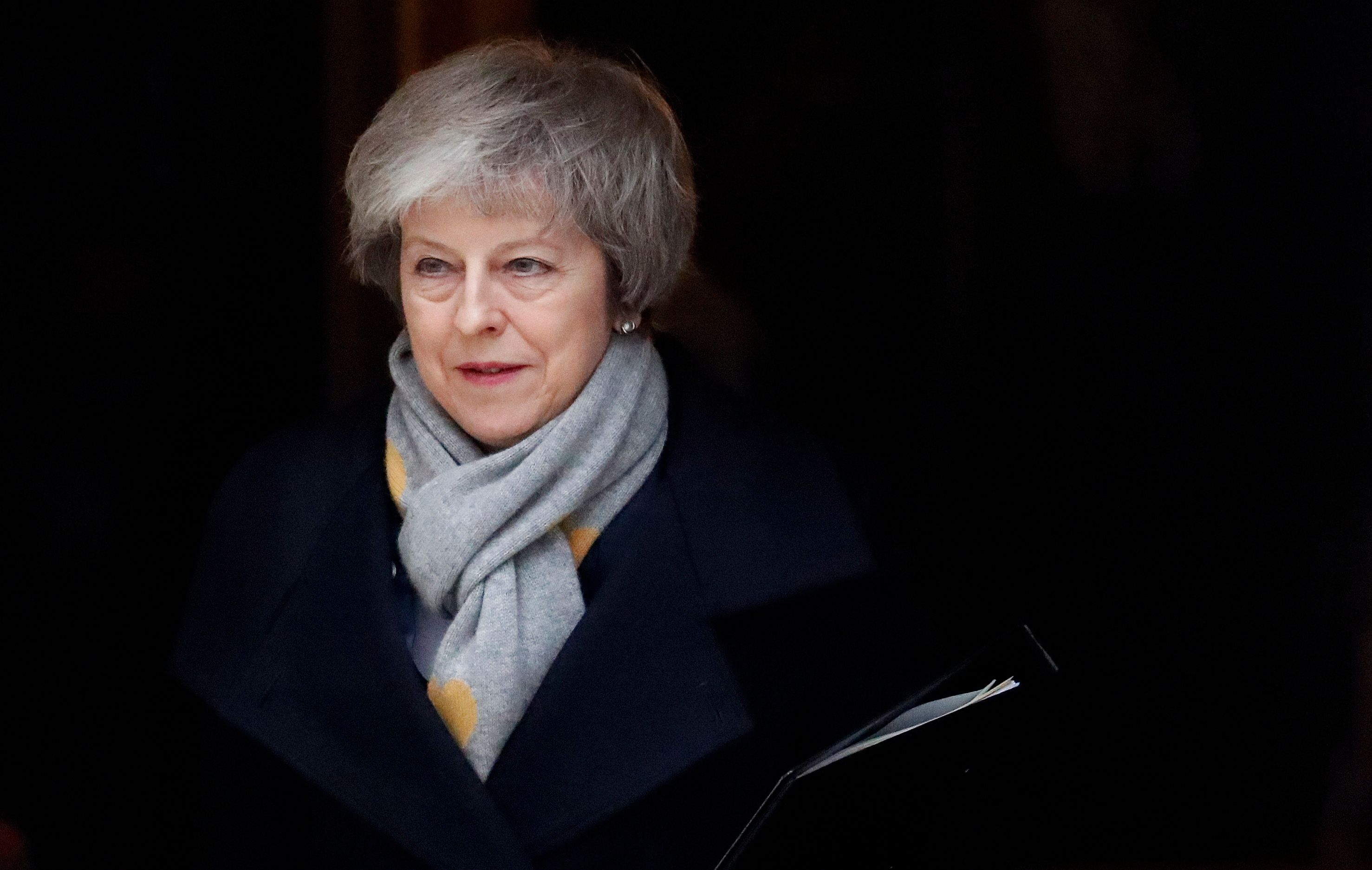 Britain's Prime Minister Theresa May leaves a cabinet meeting at Downing Street in London, Tuesday, Jan. 15, 2019. May is struggling to win support for her Brexit deal in Parliament. Lawmakers are due to vote on the agreement Tuesday, and all signs suggest they will reject it, adding uncertainty to Brexit less than three months before Britain is due to leave the EU on March 29. (AP Photo/Frank Augstein)