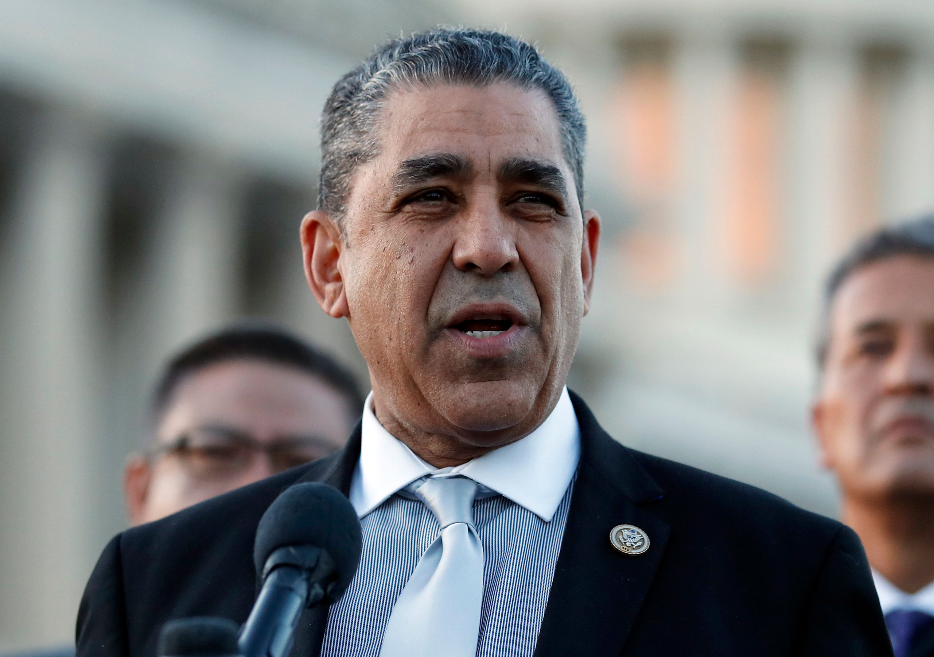 Rep. Adriano Espaillat, D-N.Y., of the Congressional Hispanic Caucus speaks about the Deferred Action for Childhood Arrivals (DACA) program during a news conference on Capitol Hill, Monday, March 5, 2018 in Washington. DACA is a program that temporarily shields hundreds of thousands of young people from deportation and was scheduled to end Monday, but court orders have forced the Trump administration to keep issuing renewals, easing the sense of urgency. (AP Photo/Alex Brandon)