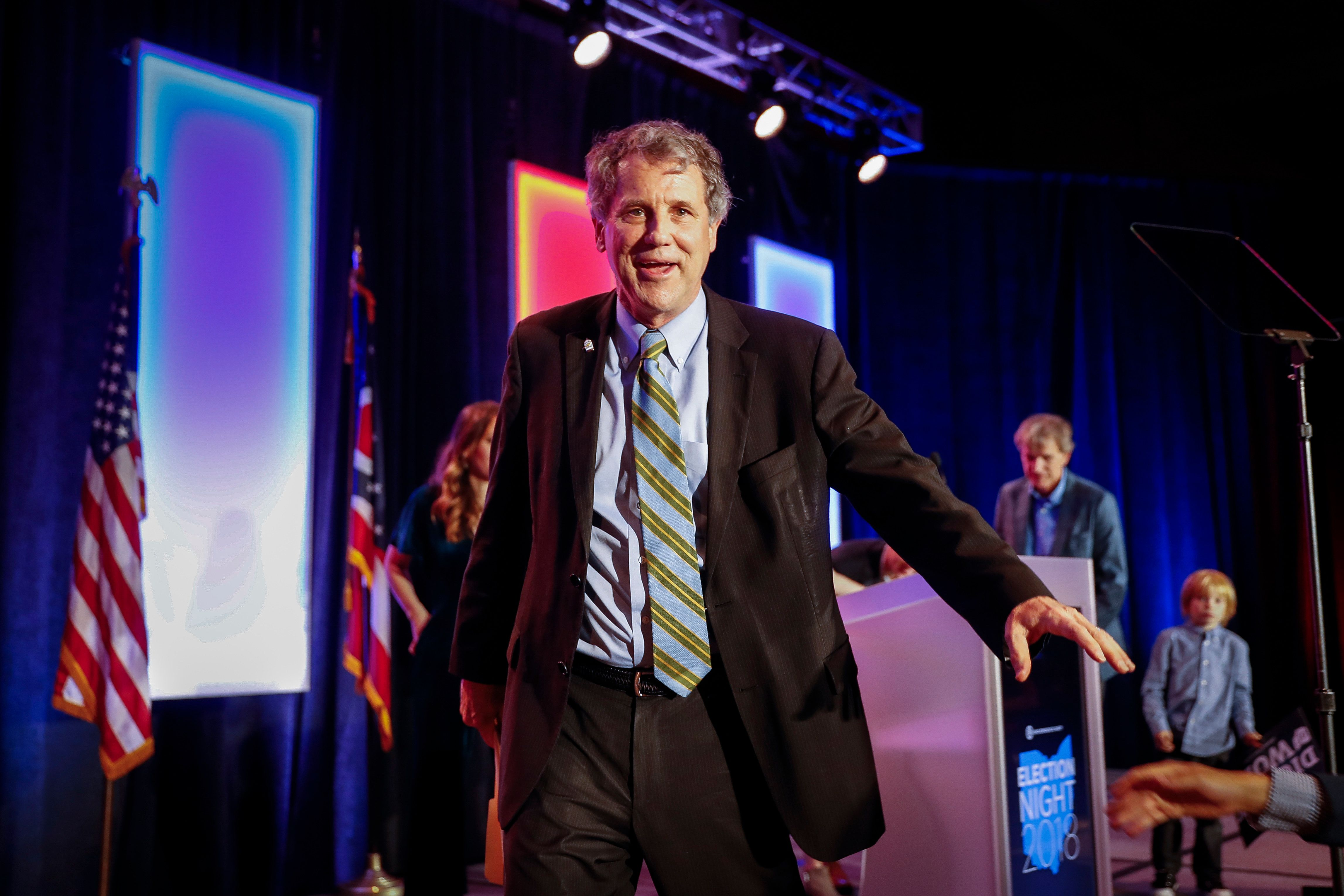 Sen. Sherrod Brown, D-Ohio, leaves the stage following a speech after winning his reelection bid during the Ohio Democratic Party election night watch party, Tuesday, Nov. 6, 2018, in Columbus, Ohio. (AP Photo/John Minchillo)