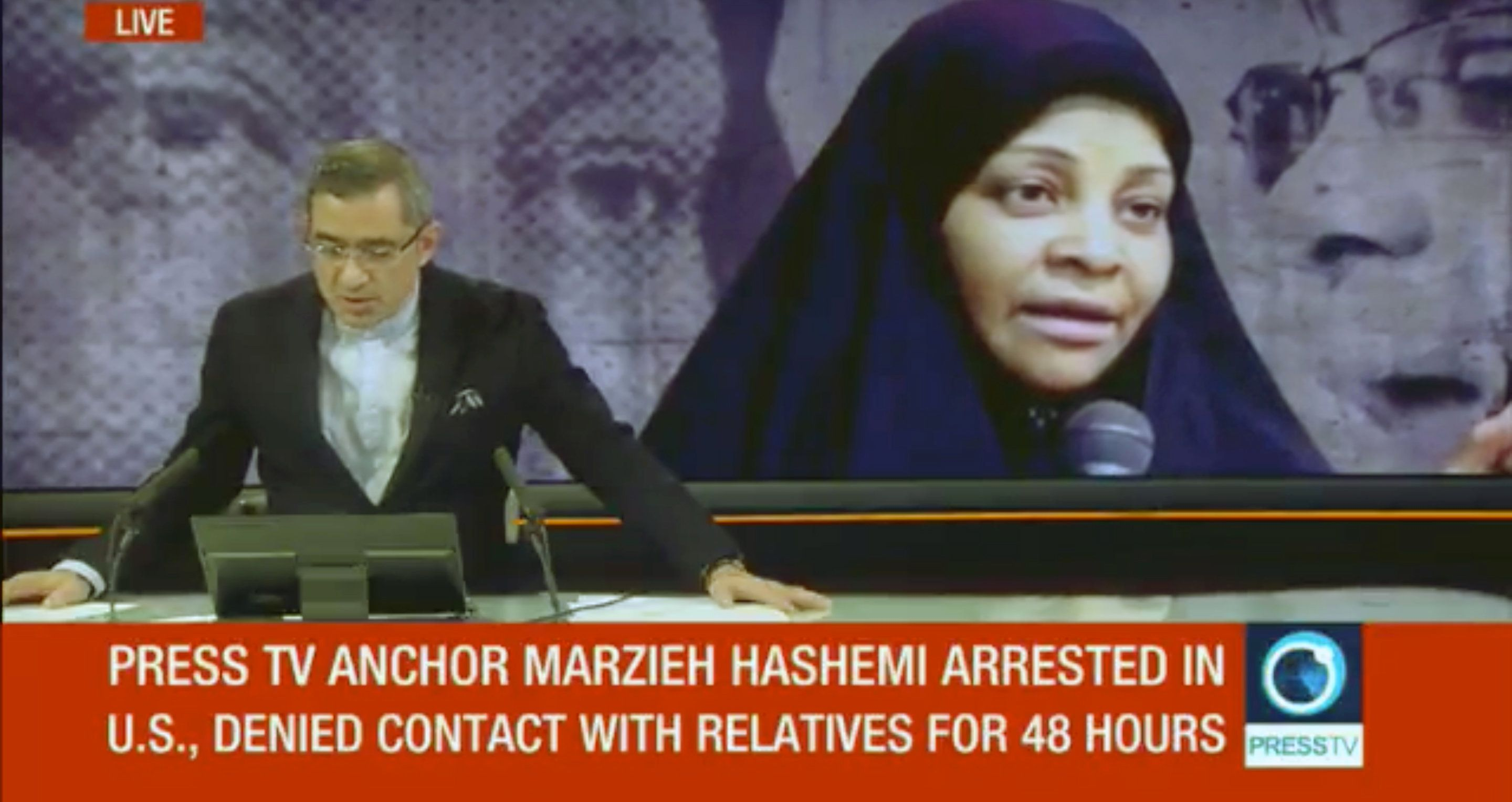 Iranian state-run Press TV reporting on the arrest of anchor Marzieh Hashemi.