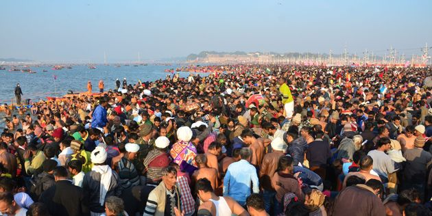 People gather for taking holy dip at