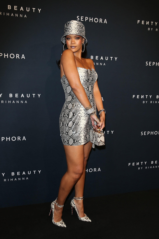 Rihanna at a Fenty Beauty anniversary event last