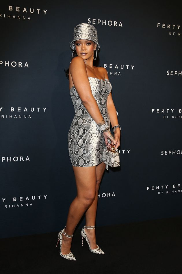 Rihanna at a Fenty Beauty anniversary event last
