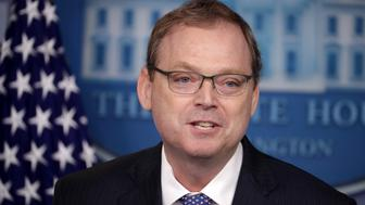 WASHINGTON, DC - SEPTEMBER 10: White House Council of Economic Advisers Chairman Kevin Hassett briefs reporters about the Trump Administration's economic policy  during a news conference in the Brady Press Briefing Room at the White House September 10, 2018 in Washington, DC. Hassett said that it is not entirely accurate to credit the Obama Administration's economic policy for the growth since January 2017, when Trump took office. (Photo by Chip Somodevilla/Getty Images)