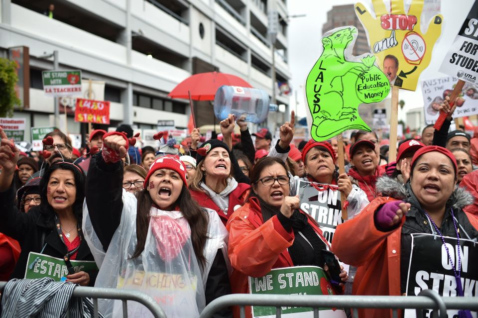 Striking teachers and their supporters rally in downtown Los Angeles on Jan. 15, 2019, the second day...