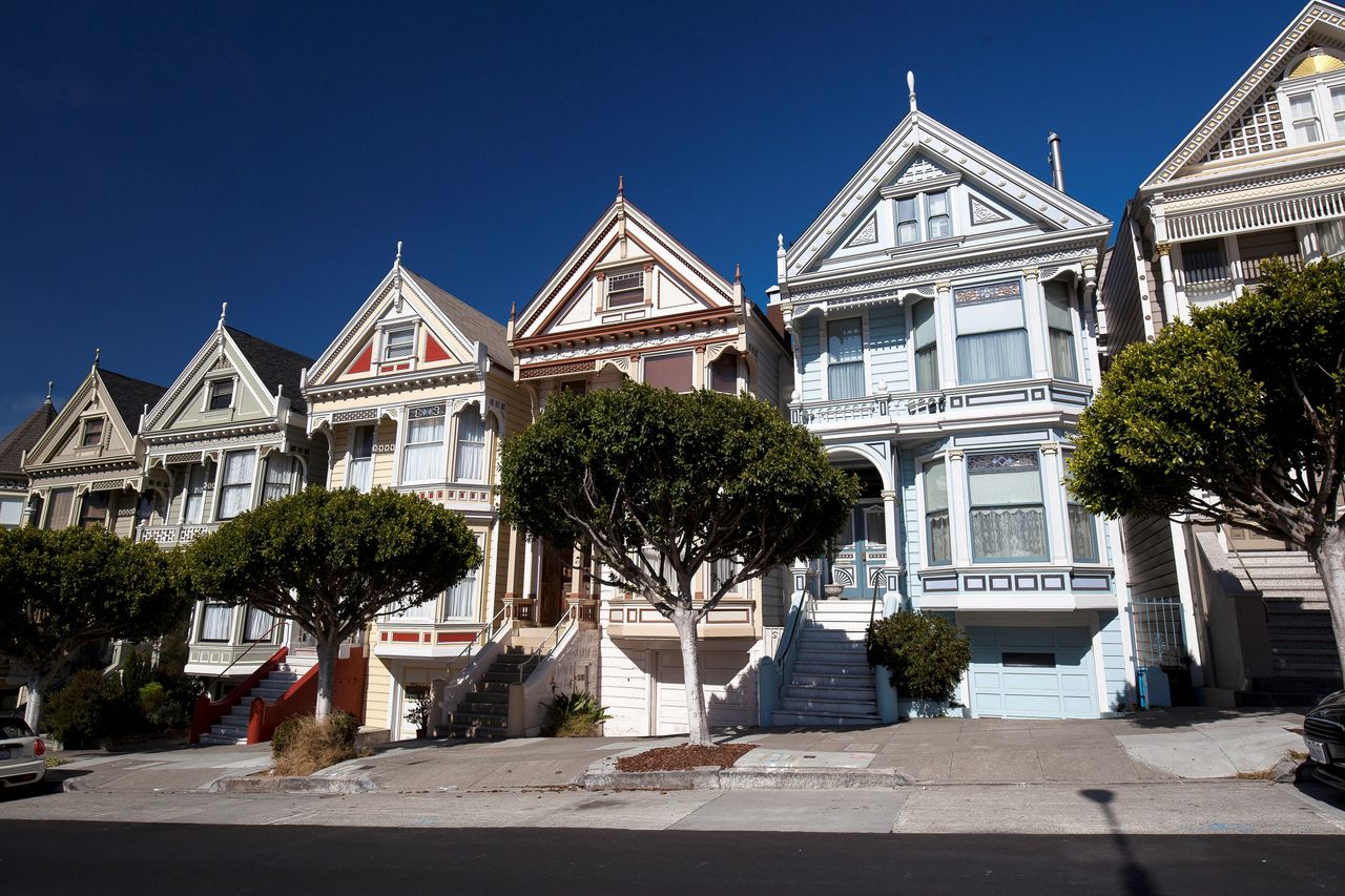 The Victorian houses known as the Painted Ladies in San Francisco. Assuming a household spends no more than 30 percent of its income on rent, it would need to make $180,000 a year to afford the median rent in the city.