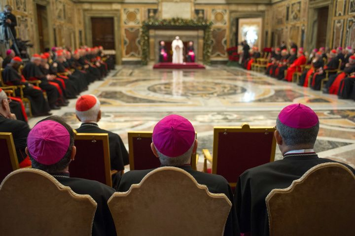 Cardinals and bishops meet with Pope Francis at the Clementina Hall on December 21, 2018 in Vatican City, Vatican.