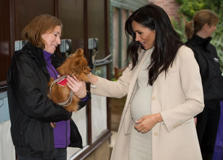 "Markle meets ""Foxy"" during her visit."
