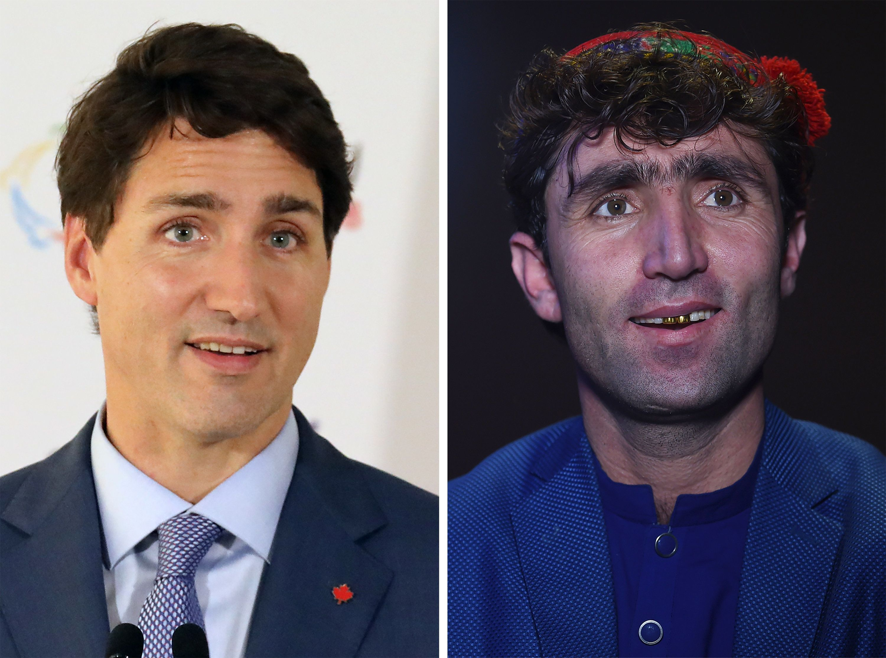 (COMBO) This combo shows a file photo taken on October 12, 2018 of Canada's Prime Minister Justin Trudeau (L) speaking at the end of the 17th Francophone countries summit in the Armenian city of Yerevan; and an image of Abdul Salam Maftoon (R), an Afghan singer and contestant of the television music competition 'Afghan Star', speaking during an interview with AFP in Kabul on January 13, 2019. - An Afghan talent show contestant's striking resemblance to Canadian Prime Minister Justin Trudeau has turned him into an unlikely celebrity in the war-torn country -- and potentially given him the winning edge. (Photo by WAKIL KOHSAR and Ludovic MARIN / AFP) / TO GO WITH Afghanistan-entertainment-television-offbeat,INTERVIEW by Allison Jackson        (Photo credit should read WAKIL KOHSAR,LUDOVIC MARIN/AFP/Getty Images)