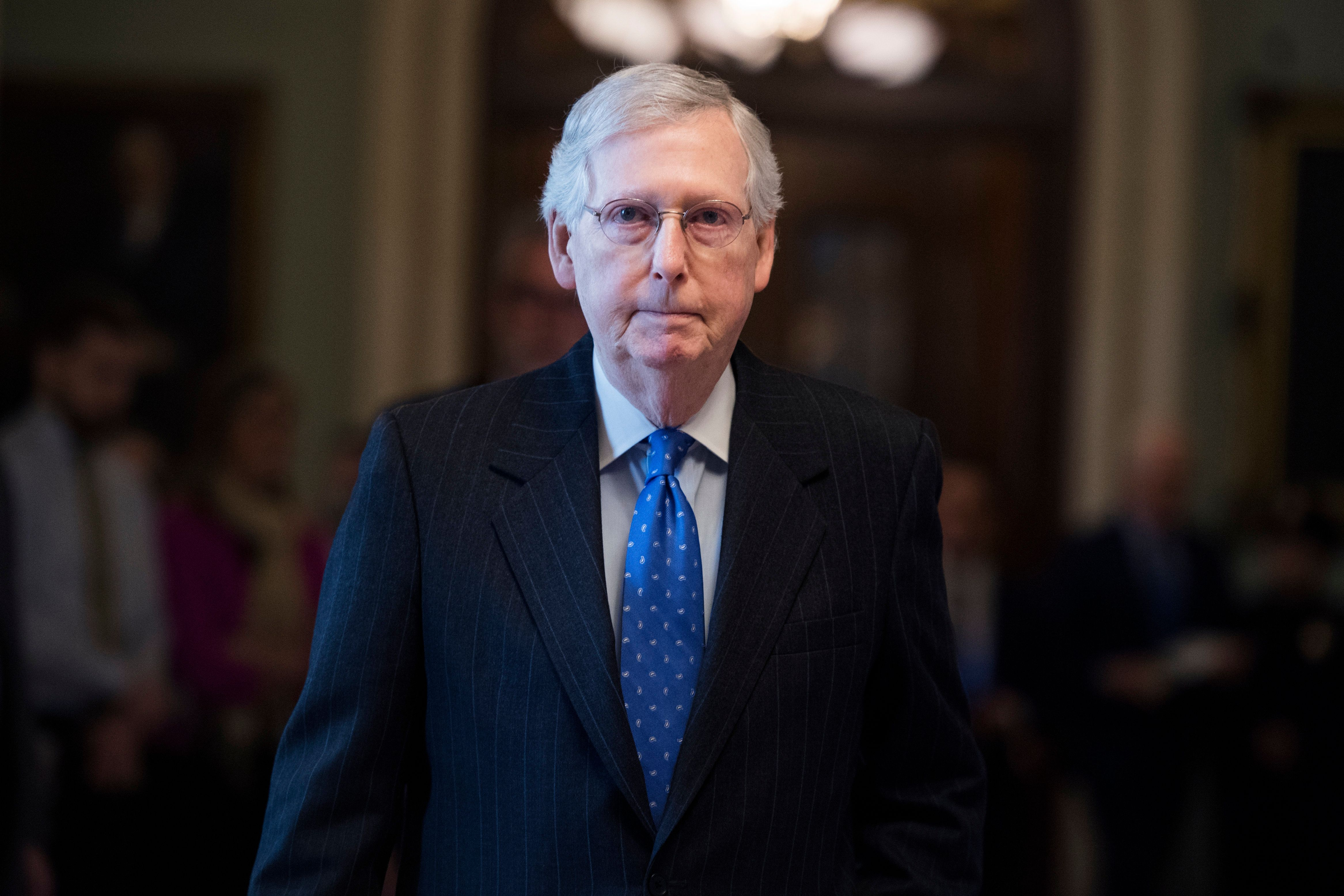 UNITED STATES - JANUARY 15: Senate Majority Leader Mitch McConnell, R-Ky., is seen the Capitol after the Senate Policy luncheons in the Capitol on Tuesday, January 15, 2019. (Photo By Tom Williams/CQ Roll Call)