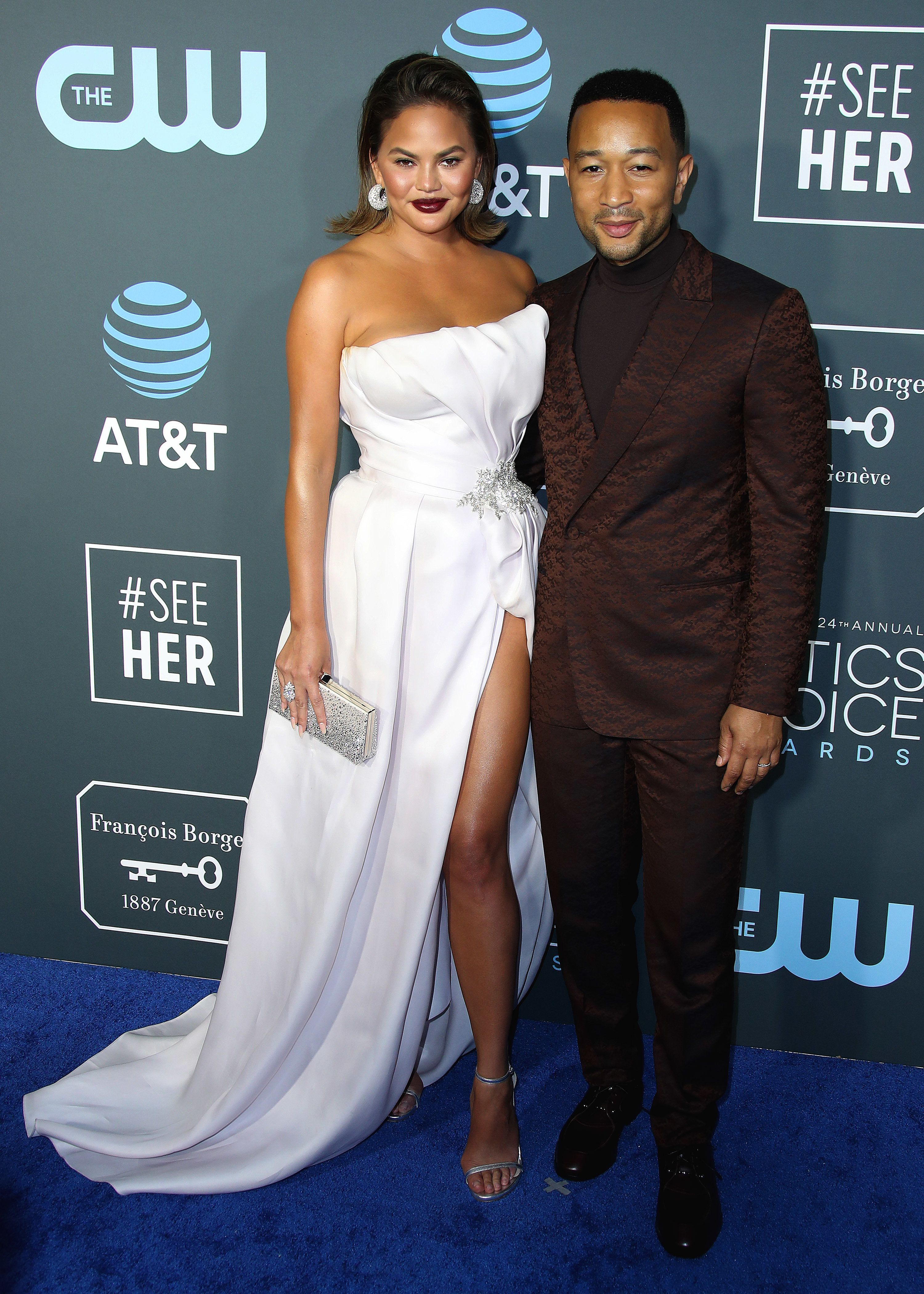 SANTA MONICA - JANUARY 13: Chrissy Teigen and John Legend at the 24th Annual Critics' Choice Awards at the Barker Hangar on January 13, 2019, in Santa Monica, California. (Photo by Xavier Collin/PictureGroup/Sipa USA)