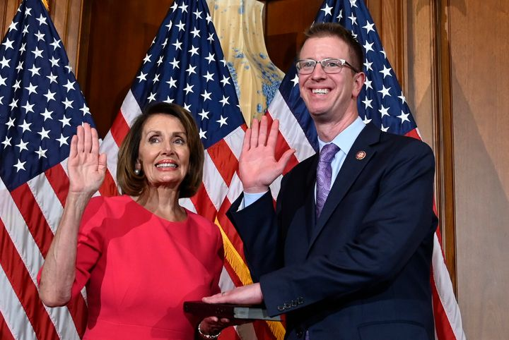 Rep. Derek Kilmer (D-Wash.), at a ceremonial swearing-in on Jan. 3 with House Speaker Nancy Pelosi, will chair the new Select