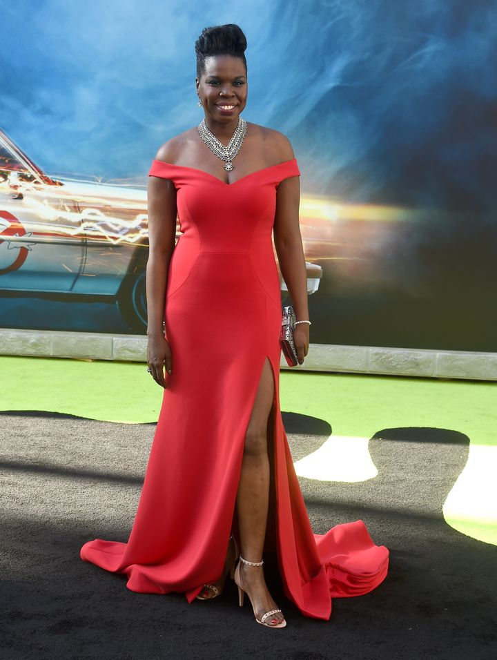 """Leslie Jones wearing a design by Siriano at the """"Ghostbusters"""" premiere."""