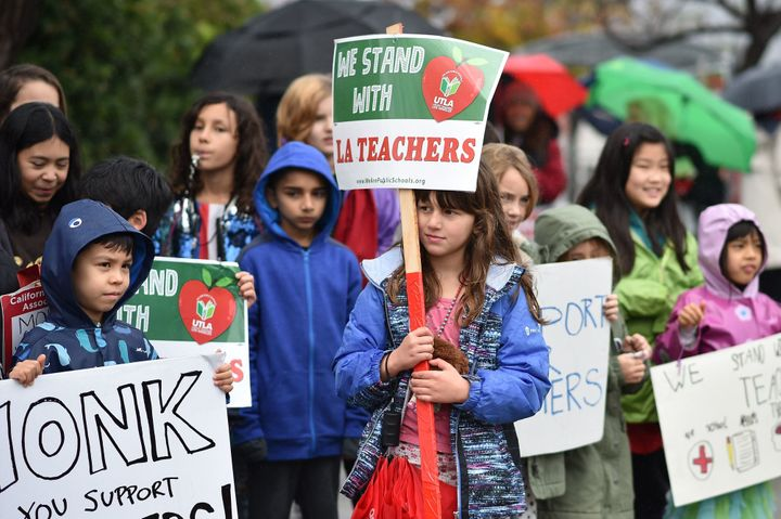 Some students are walking the picket lines with their teachers.