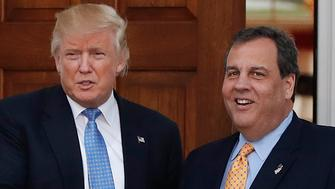 President-elect Donald Trump, left, shakes hands with New Jersey Gov. Chris Christie at the Trump National Golf Club Bedminster clubhouse, Sunday, Nov. 20, 2016, in Bedminster, N.J.. (AP Photo/Carolyn Kaster)