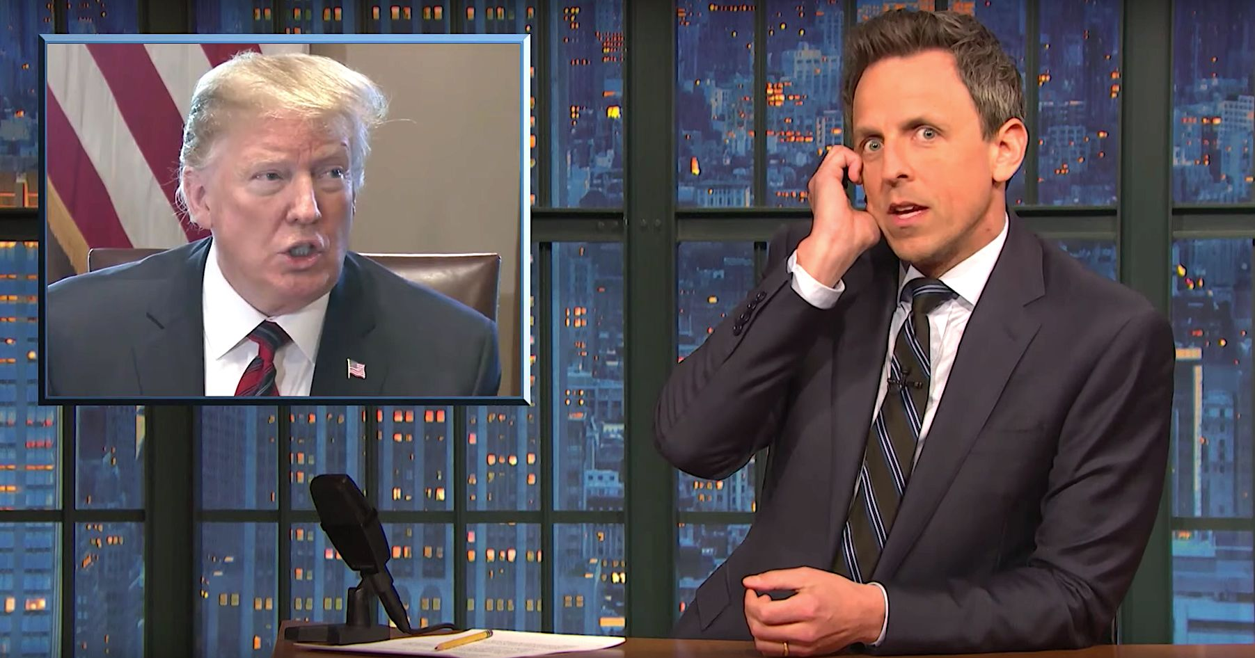 Donald Trump and Seth Meyers