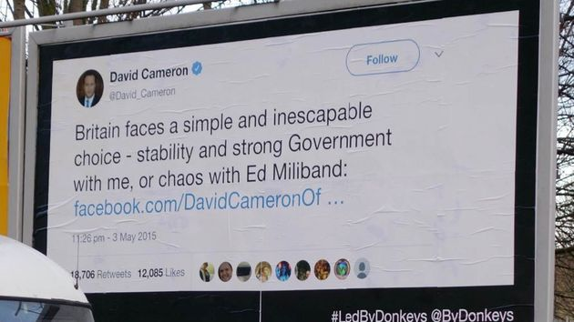 A poster campaign featuring David Cameron's now infamous