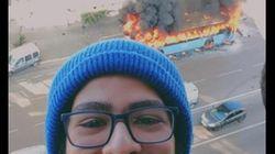 Ce selfie à Casablanca devant un bus en feu (vide) est devenue