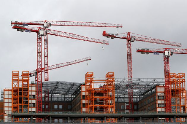 Construction cranes at the Midland Met project in Smethwick following the collapse of