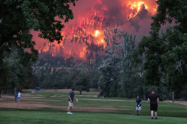 The Eagle Creek wildfire burns near the Beacon Rock Golf Course in North Bonneville, Washington, Sept. 4. A proposed carbon t