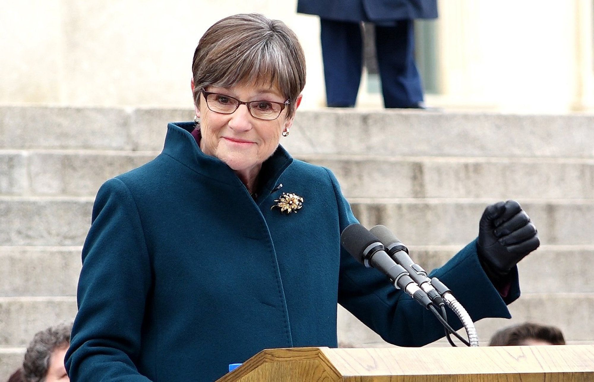Laura Kelly speaks after being sworn in as the 48th governor of Kansas in an inauguration ceremony in front of the statehouse Monday, Jan. 14, 2019 in Topeka, Kan. (Jill Toyoshiba/The Kansas City Star/TNS via Getty Images)