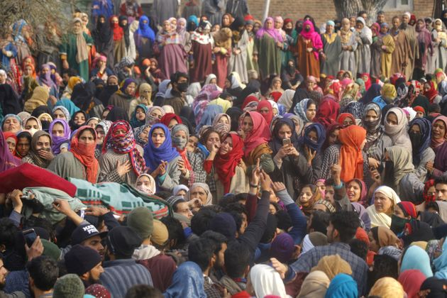 Mourners at the funeral of a militant in Srinagar in December. A senior police officer says Kashmiri...