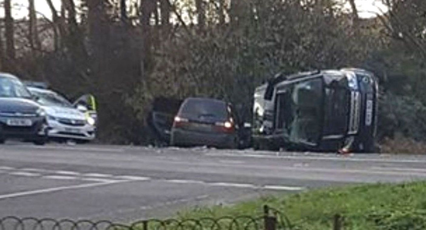 A local radio station published a picture of the two-car crash.