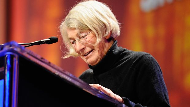 LONG BEACH, CA - OCTOBER 26:  Poet Mary Oliver speaks during California first lady Maria Shriver's annual Women's Conference 2010 on October 26, 2010 at the Long Beach Convention Center in Long Beach, California. Attendees to the conference include Gov. Arnold Schwarzenegger and candidates for California Governor Republican Meg Whitman and Democrat Jerry Brown.  (Photo by Kevork Djansezian/Getty Images)