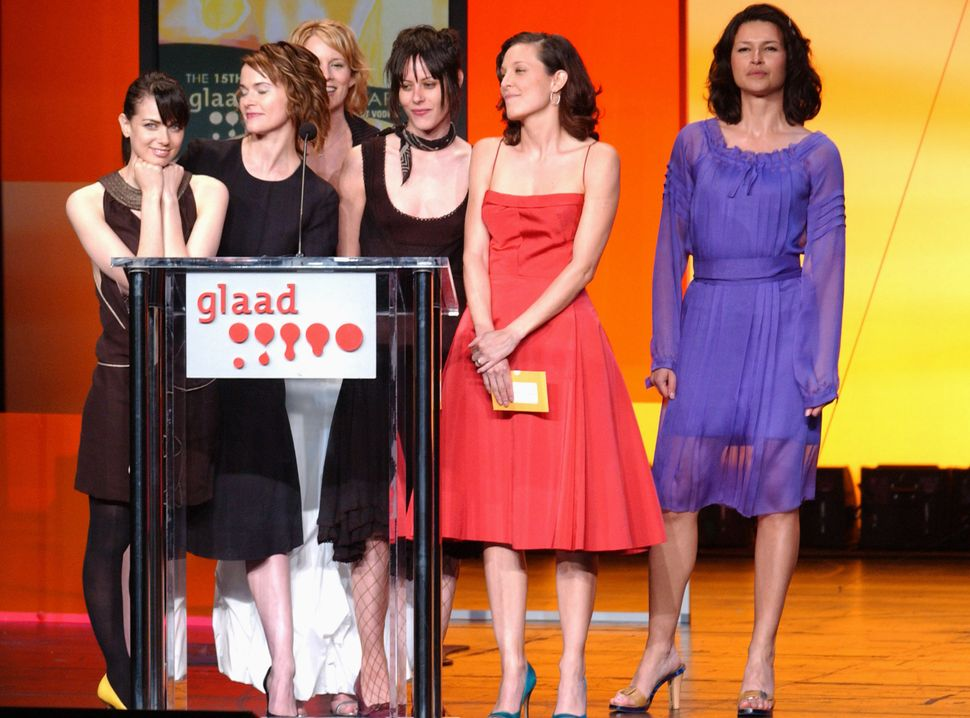"The cast of ""The L-Word"" at the 15th Annual GLAAD Media Awards in 2004, presenting the award for Outstanding Television"