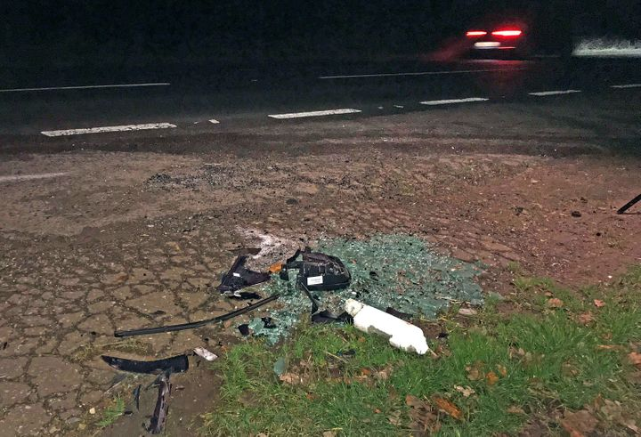 Debris seen on the road near Sandringham where Prince Philip was earlier involved in a car accident.