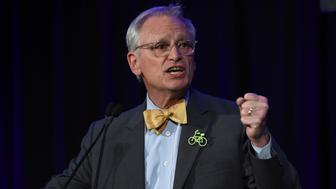 Congressman Earl Blumenauer speaks during election night in Portland, Ore., Tuesday, Nov. 6, 2018. (AP Photo/Steve Dykes)