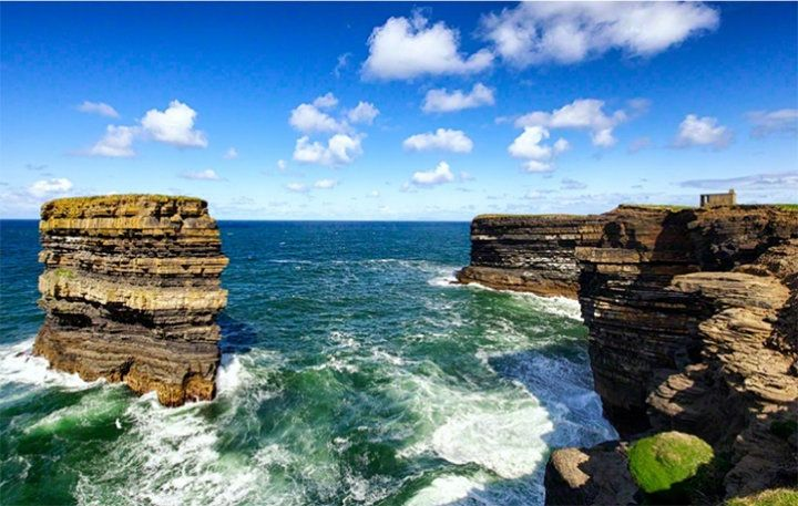 Downpatrick Head andDún Briste Sea Stack on a sunny day.