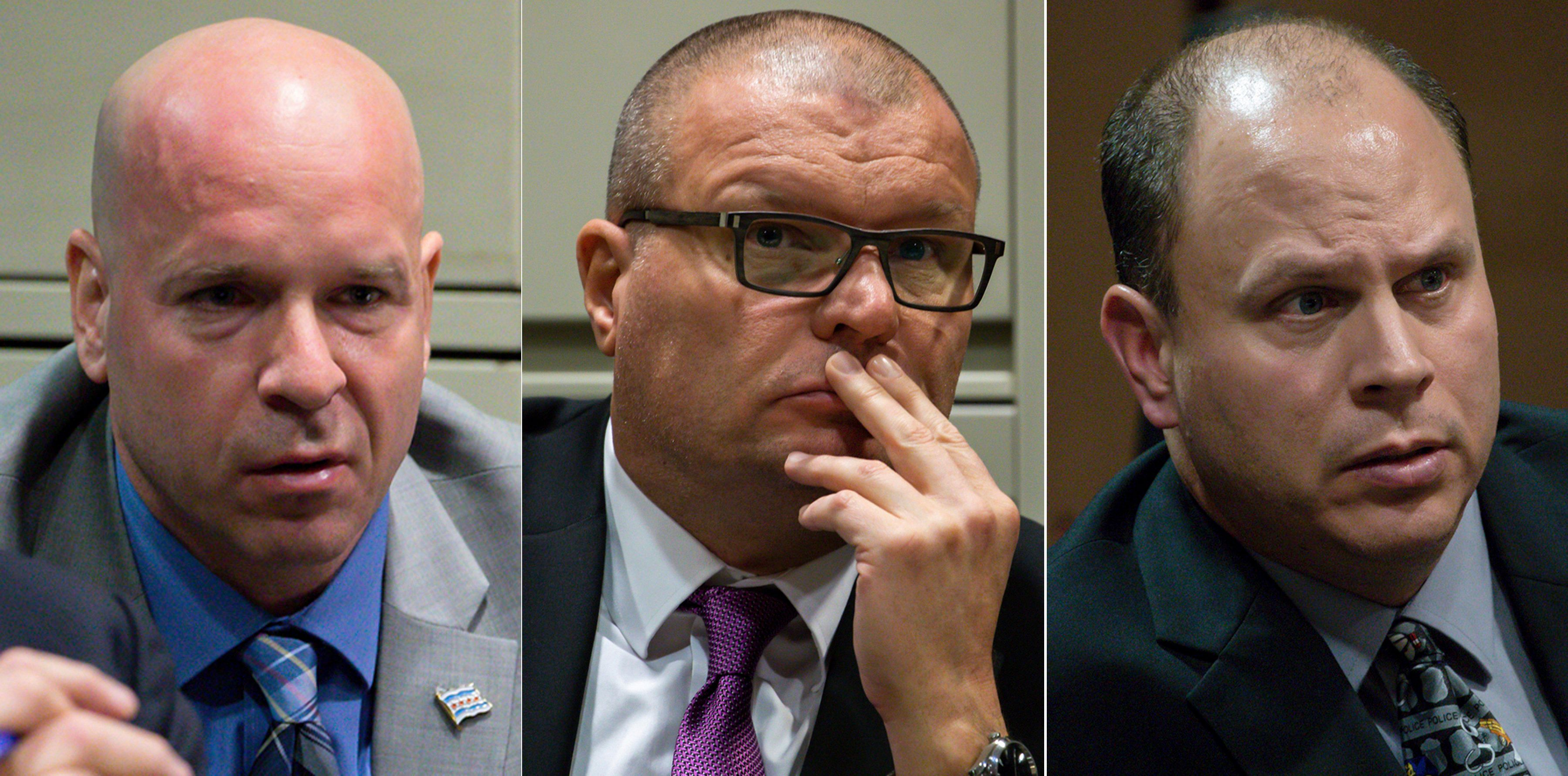 FILE - This combination of Nov. 28, 2018 file photos shows former Chicago Police officer Joseph Walsh, left, former detective David March and former officer Thomas Gaffney during a bench trial before Judge Domenica A. Stephenson at Leighton Criminal Court Building in Chicago. Cook County Judge Domenica Stephenson is set to announce a verdict Thursday, Jan. 17, 2019, for the three Chicago police officers accused of lying in their reports to protect the white officer who fatally shot black teenager Laquan McDonald. (Zbigniew Bzdak/Chicago Tribune via AP, Pool, File)